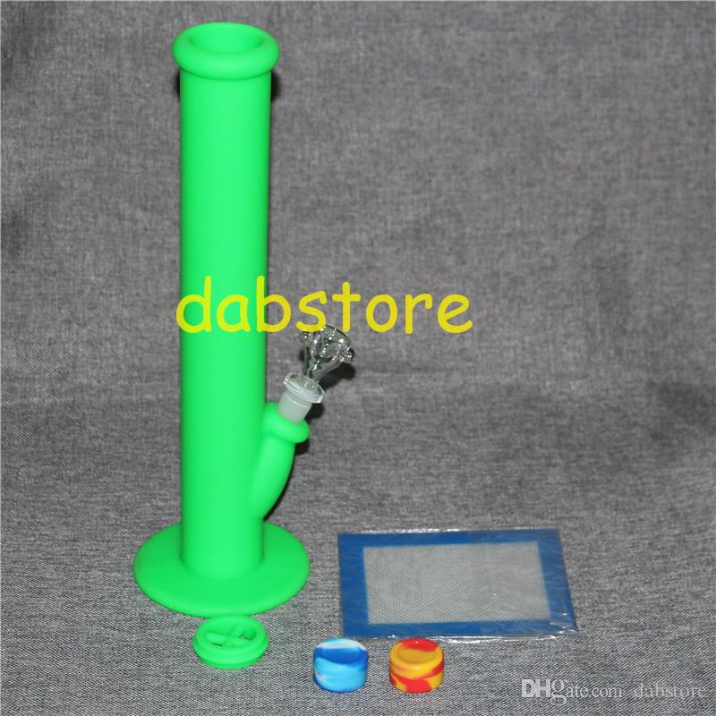 Silicone Oil Wax Dab Kit with 5.51*4.52 inch Mat Pad silicone bong and 2 pcs 5ml silicone wax containers free shipping