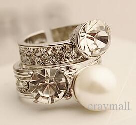 Весна новый браслет популярный логотип преувеличены большой жемчуг бриллиантовое кольцо