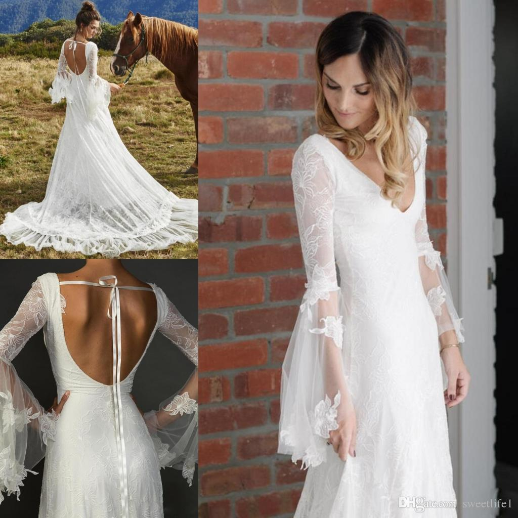 New White 2019 Bohemian Tüll Brautkleider Langarm V-Ausschnitt Sweep Zug Backless Gothic Brautkleid