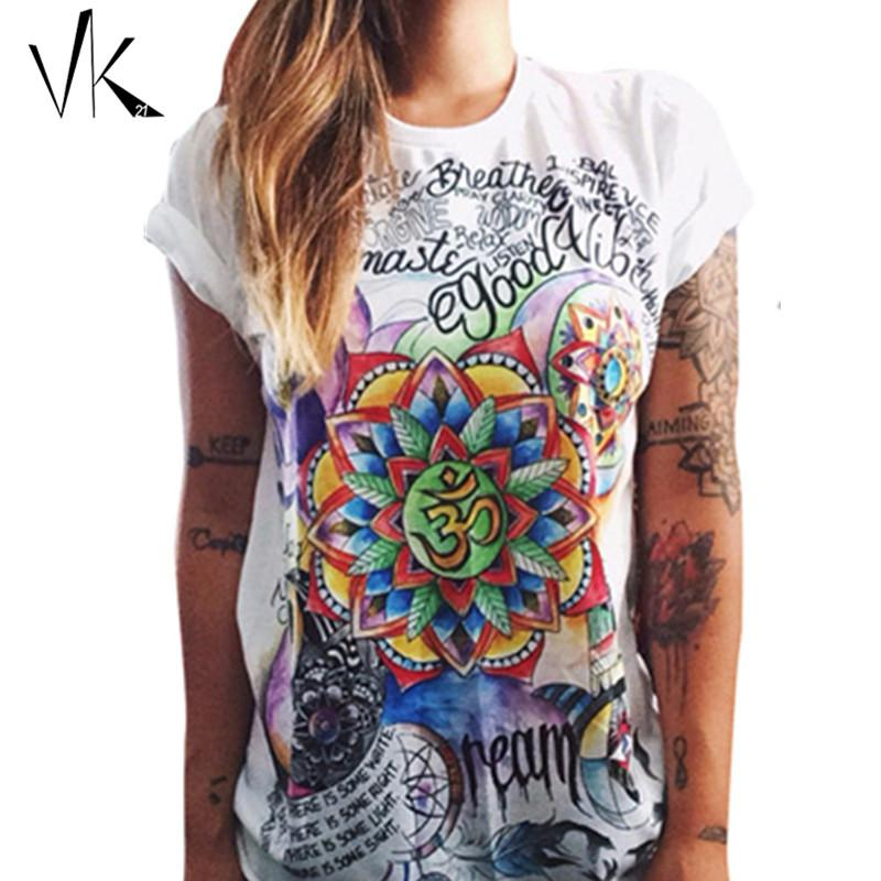 Wholesale-S-XXL Plus Size Tees Graphic T-shirt Femme Hip Hop Feminino Punk Rock Shirt Imprimer Top Femmes T-shirts Coton Été 2016