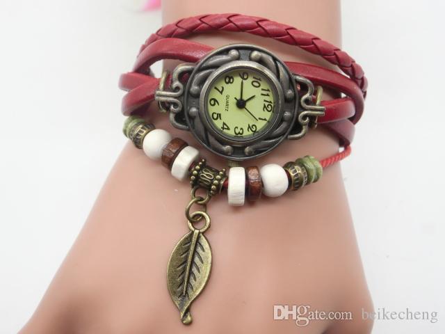 Wholesale 100pcs/lot Mix 7colors Tree Leaf Pendant watch women bracelet quartz watches ladies wristwatches LP006