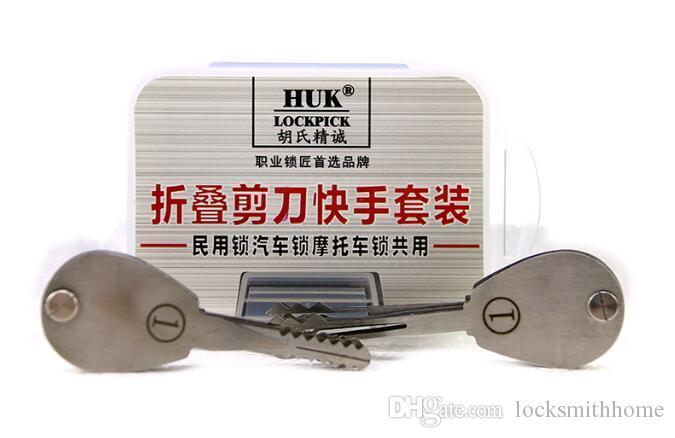 HUK 20psc Foldable 자동차 잠금 오프너 양면 잠금 선택 자동차 / 모터 / 도어에 사용되는 열쇠 도구를 설정