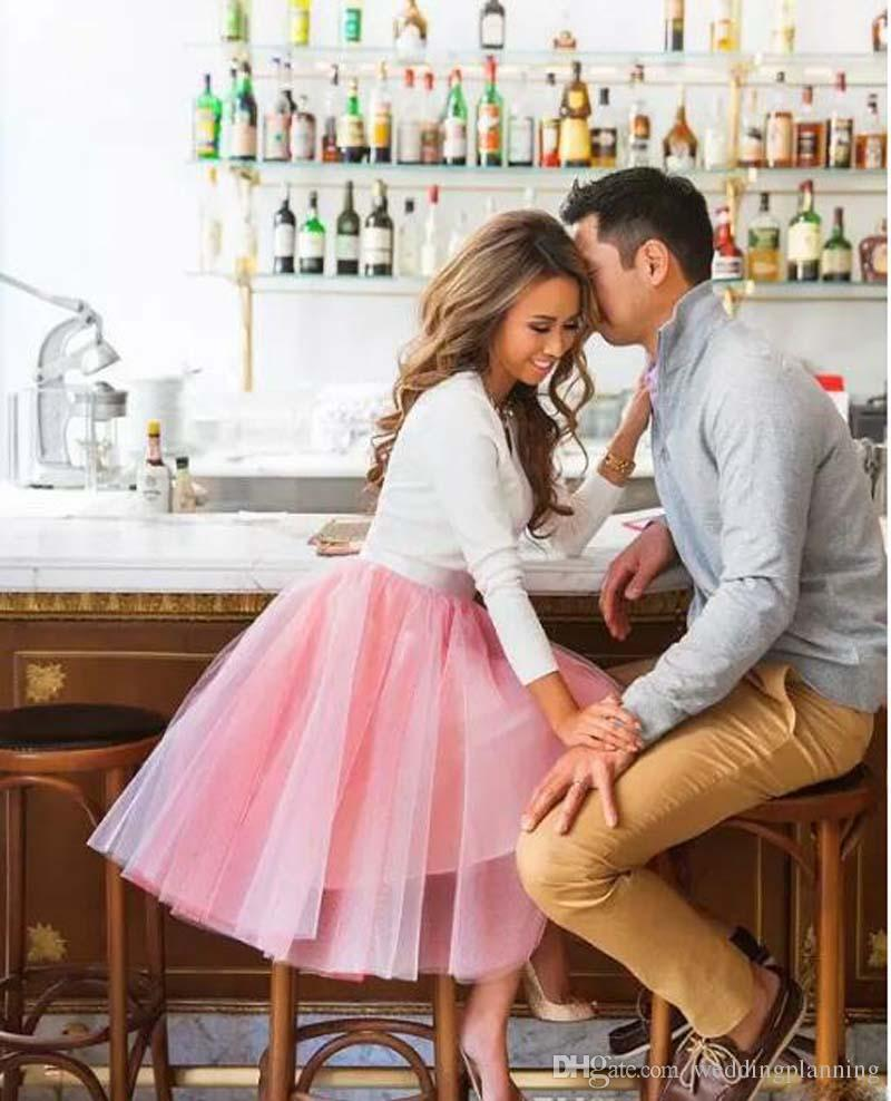Knee Length Tyered Adult Skirts Tutu Tulle Puffy Party Mesh Skirts Pink A Line Girl Bust Pleated Skirt