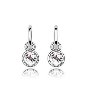 Hot Sales 18K Platinum Plated Women Round Cute Stud Earrings Genuine Austrian Crystal Fashion Earrings Jewelry for Women Wholesale