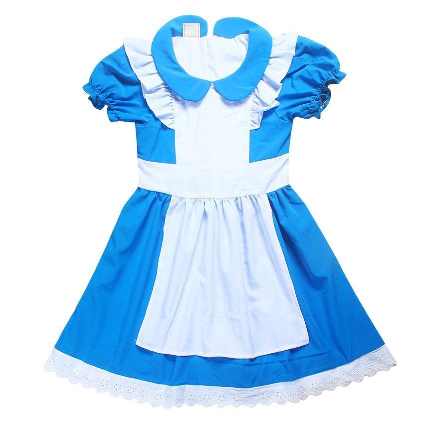 Sevimli kız elbise karikatür Alice In Wonderland pamuk nedensel elbise 4-12years kız çocuklar çocuklar için vestido kostüm Yaz giysi