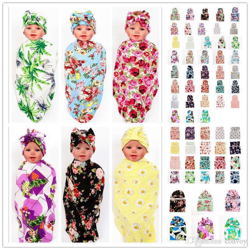 92 ألوان الوليد الطفل swaddling بطانية قبعة مجموعة الرضع الاطفال زهرة الأزهار قماط لينة القطن التفاف القماش عقدة القوس قبعة رباطات bhbz07