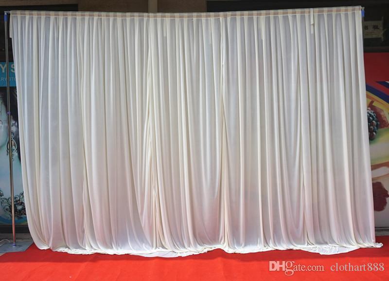 3M * 3M خلفية بيضاء ستارة خلفية حفل زفاف الستارة مرحلة الستار backcloth 2PC ل 3 * 6M