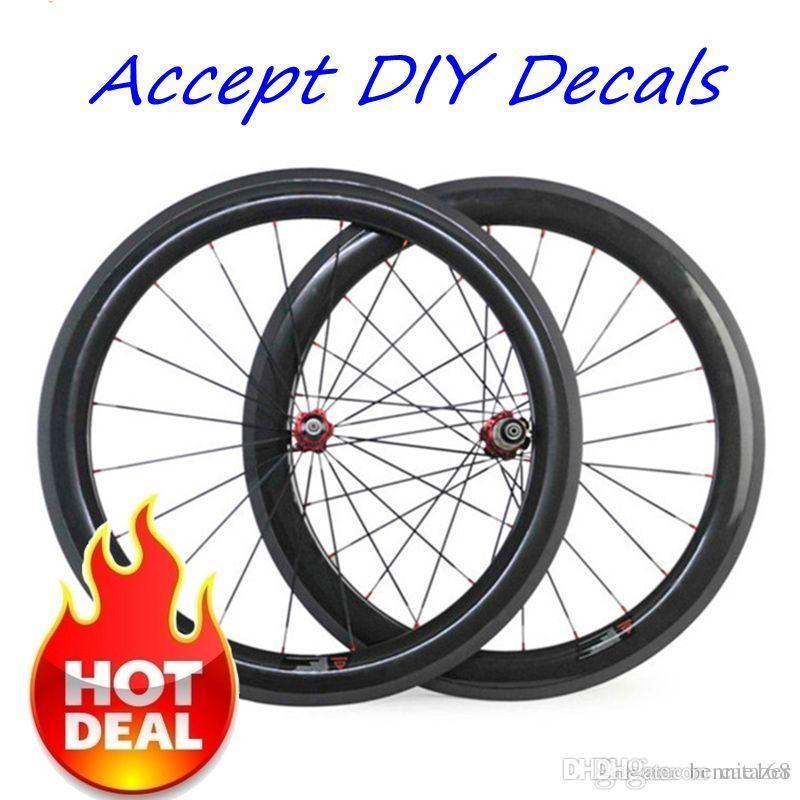 DIY Decals 허용 700C 50mm 깊이 23mm 너비 Carbon Bike Wheels 매트 마감 3K Novavec 271 허브가있는 Clincher Tubular