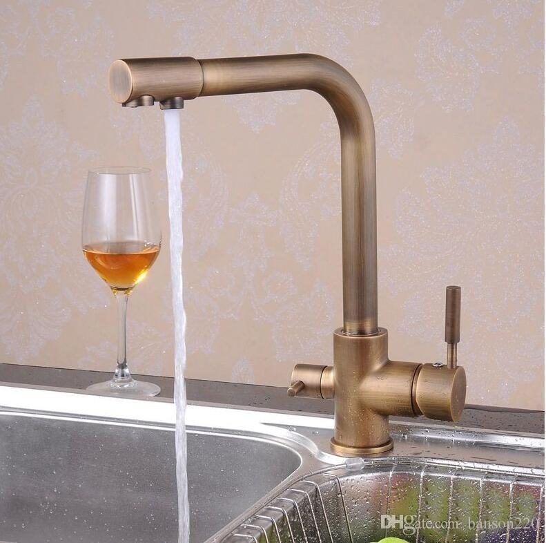Free shipping Luxury antique filter kitchen faucet with dual handle kitchen sink faucet and deck mounted filter kitchen faucet