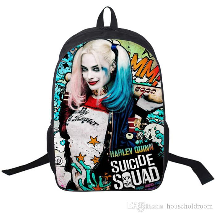 "2017 Hot Suicide Squad Harley Quinn Backpack rucksacks 16"" Children Girls Boys Shoulder Bags School Bag Bookbags"