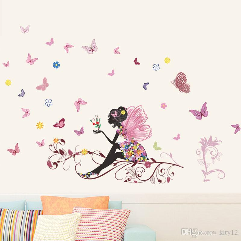 Free shipping New Butterfly Flower Fairy Wall Decor Bedroom Living Room Background Wall Sticker Removable Waterproof Home Decoration