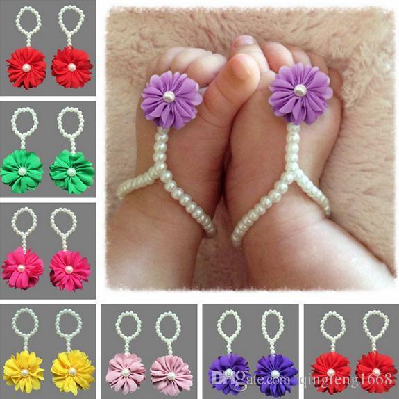 Europa und die Vereinigten Staaten neue Kinder Perle Füße Blume gesetzt Baby Fußkettchen