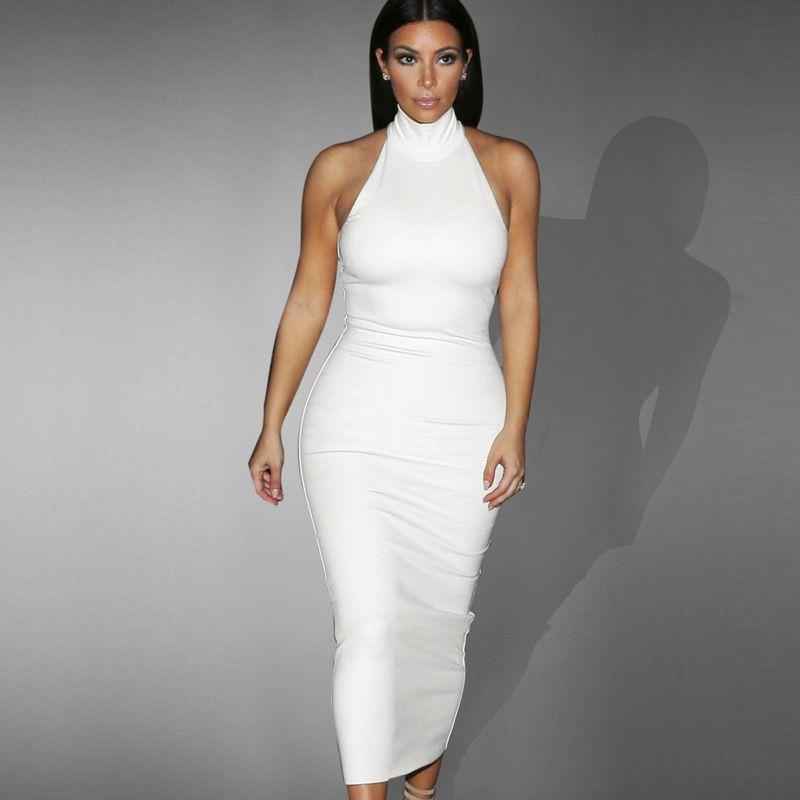 New Fashion Women's Celeb Sexy Elegant Turtleneck Sleeveless Formal Party Clubwear Slimming Bodycon Stretch Fitted Midi Dress