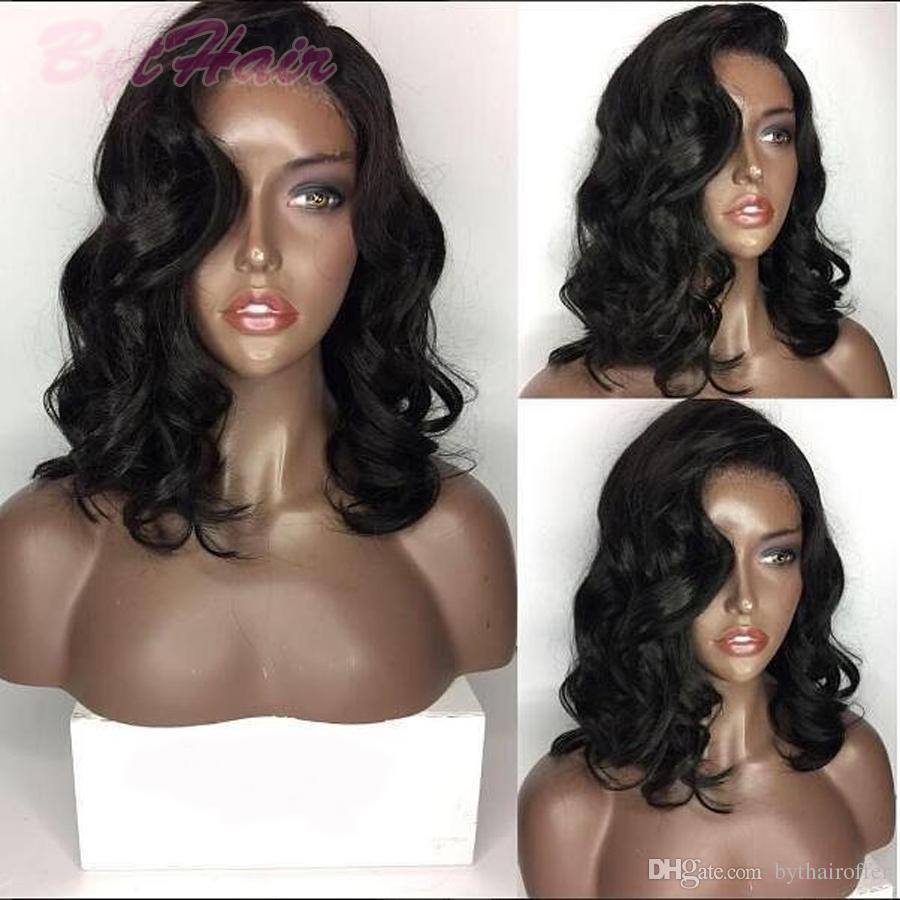 Bythair Volle Spitze Echthaar Perücken Wellenförmige Brasilianische Remy Haar Glueless Echthaar Perücken Lace Front Perücken Für Schwarze Frauen Mit Babyhaare