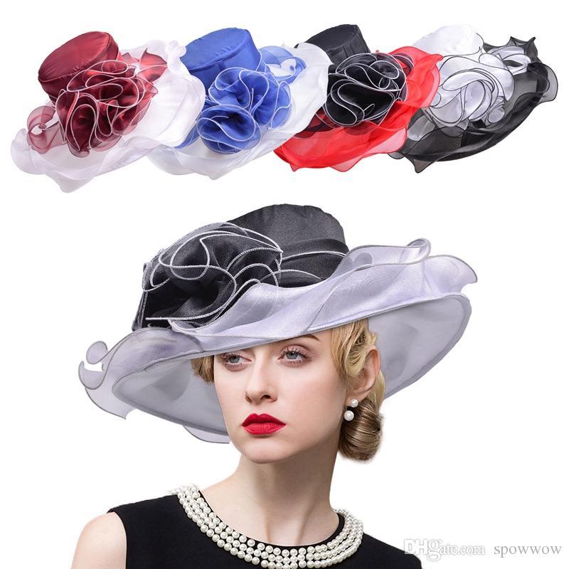 Femmes large bord d'été chapeau organza ruban floral protection UV plage soleil cap église Kentucky Derby disquette A405