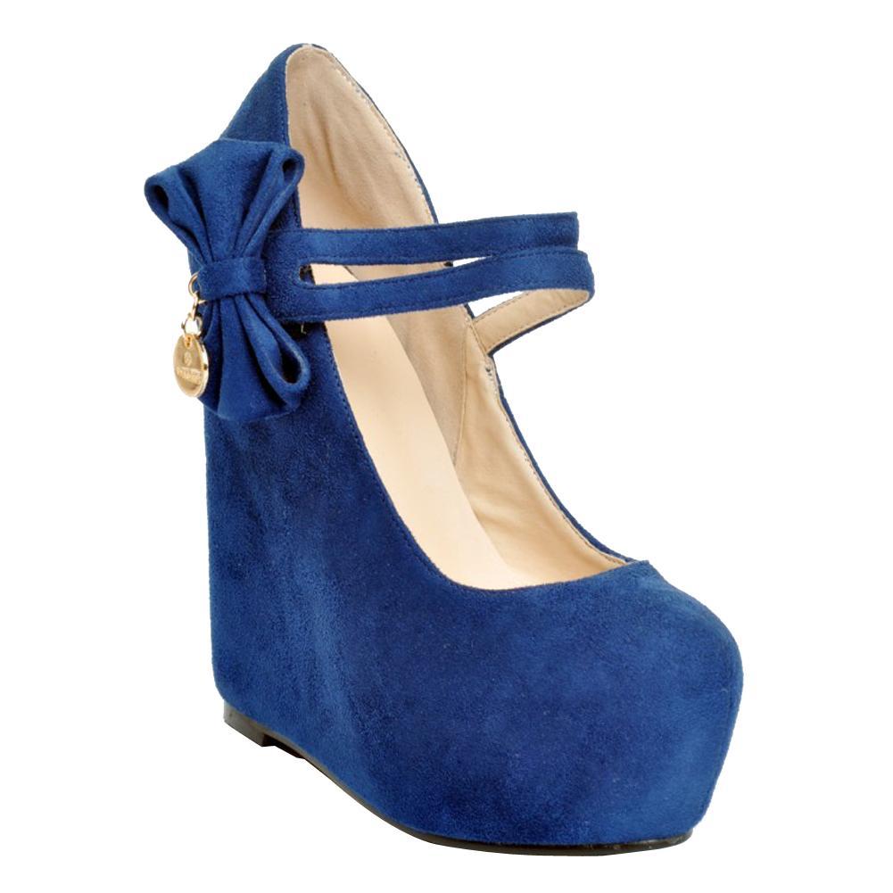 Zandina المرأة الأزياء 15CM فو الجلد المدبوغ القوس التعادل إسفين منصة عالية الكعب مضخات أحذية المحكمة XD189 الأزرق
