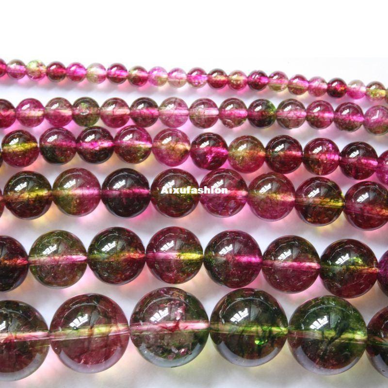 Cristales de turmalina Cuentas Granos Cristal Piedra Natural Granos de Piedra Perlas Redondas Sueltas Bola 6/8/10/12 MM Pulsera DIY