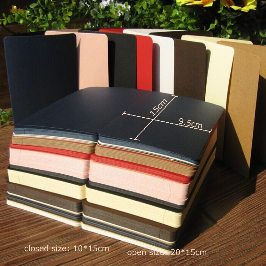 50pcs / lot A6 taille 10x15cm papier coloré pliable, style rétro nostalgique, carte mot bricolage, cartes de voeux mémorial créatif