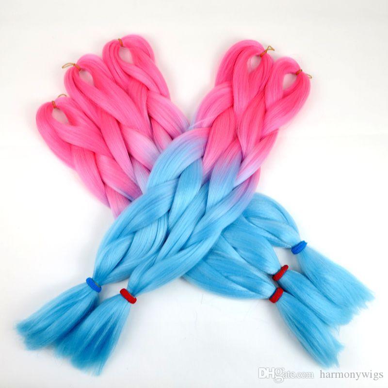 Kanekalon الاصطناعية تجديل الشعر جامبو جدائل الكروشيه تويست أومبير الوردي الأزرق طبقتان 24 بوصة 100 جرام السائبة الشعر