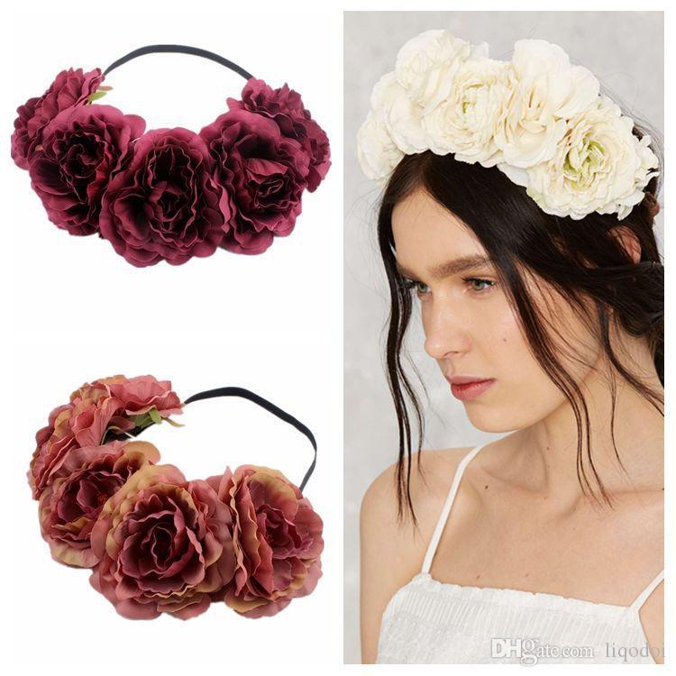 Невеста женщины роза цветок венок Корона гирлянда Halo для свадебных фестивалей девушка Роза венок головной убор Boho цветочные короны