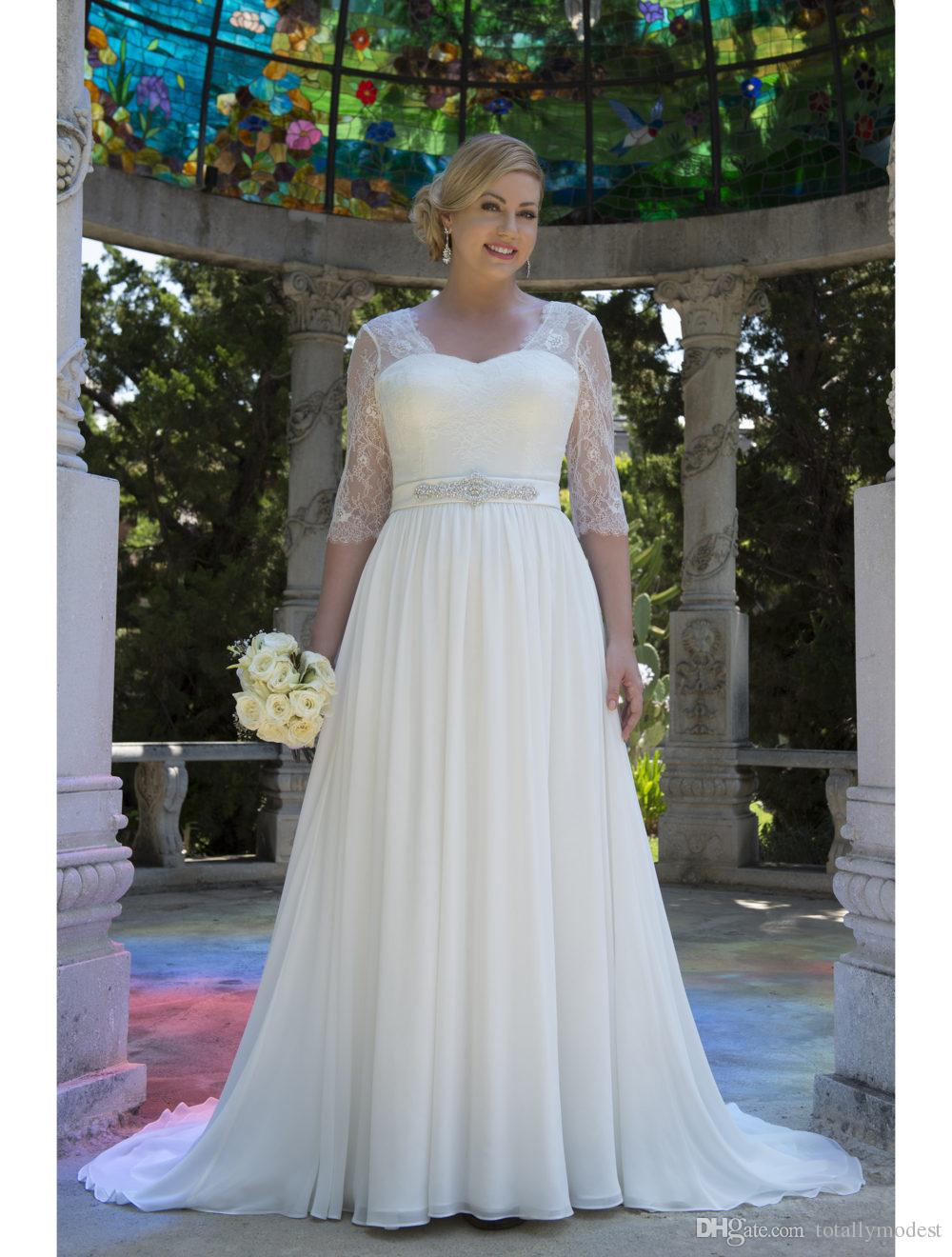 Discount Informal Lace Chiffon Modest Plus Size Wedding Dresses Vestido De  Noiva Half Sleeves 2017 Big Size Reception Bridal Gowns Country Western ...