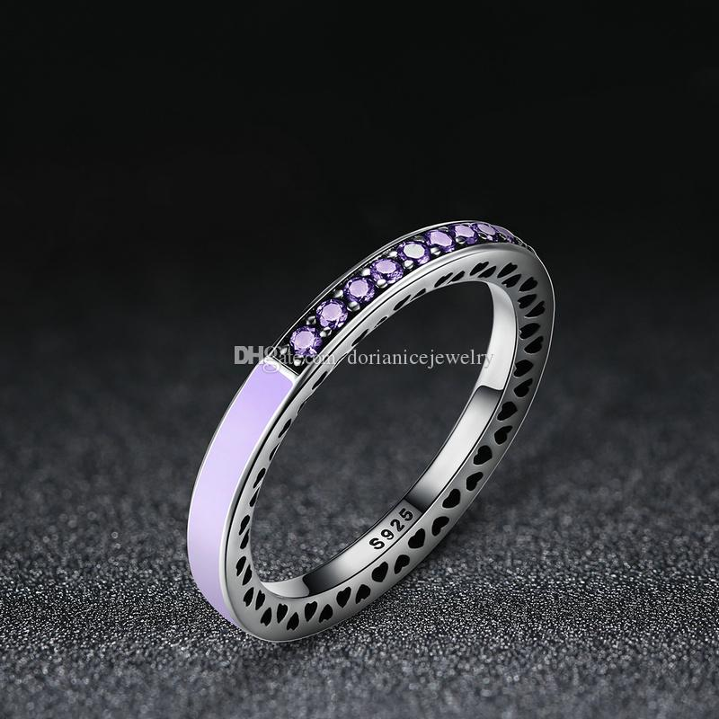 GENUINE S925 SILVER RADIANT HEARTS OF PINK STACKING RING BAND SIZE LIMITED SALE