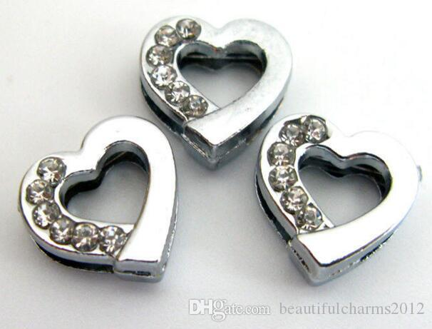 Wholesale 8mm 100pcs/lot Half rhinestones Heart Slide letters DIY Charm Accessories fit for 8mm leather wristband keychains