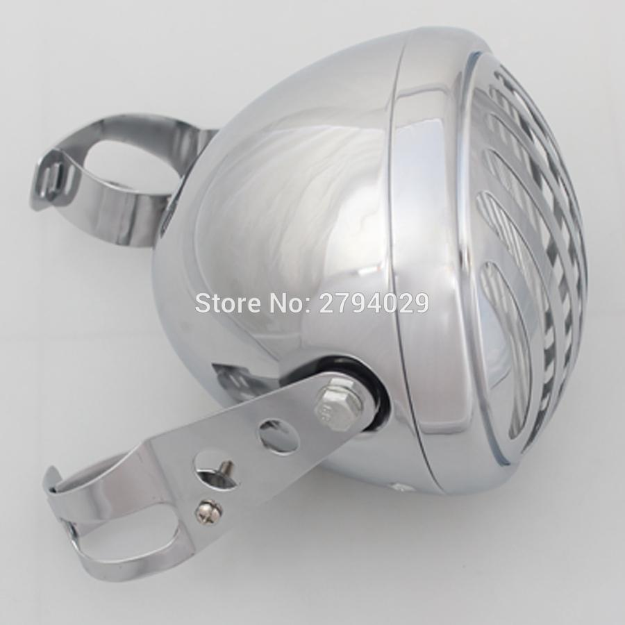 Free Shipping Universal Motorcycles Chrome Large Grill Cover Finned Halogen Headlight W/ Mounting Bracket for Harley Honda etc.