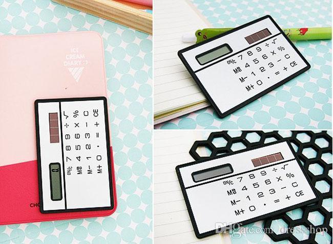 Kreatives Briefpapier Großhandel Schulbedarf ultradünne tragbare Kartenrechner Solar Schüler Preise