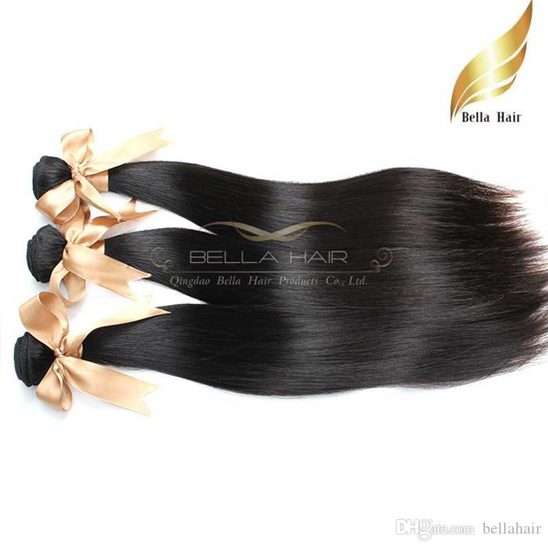 Бразильские пакеты волос шелковистые прямые плетения Remy Humanhair 3PCS / LOT натуральный цвет 10-30 дюймов уток волос Bellahair
