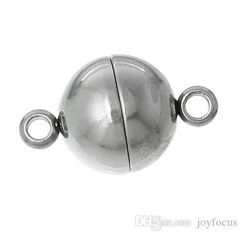 20 قطع الفولاذ المقاوم للصدأ المشابك المغناطيسية جولة مملة لصنع المجوهرات قلادة سوار diy النتائج مجوهرات شحن مجاني