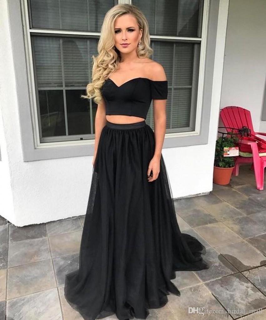 Compre Moda Dos Piezas Vestido De Fiesta Sexy Novia Negro Vestido De Noche Palabra De Longitud Vestido De Fiesta Barato Vestido De Fiesta De China A