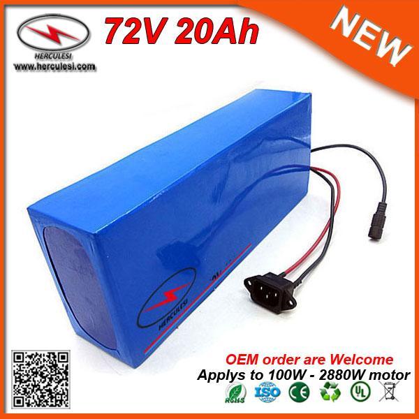 Puissant 2880W Batterie au lithium 72V 20AH ebike batterie Utilisé 26650 20S4P cellule Li-ion 40A BMS
