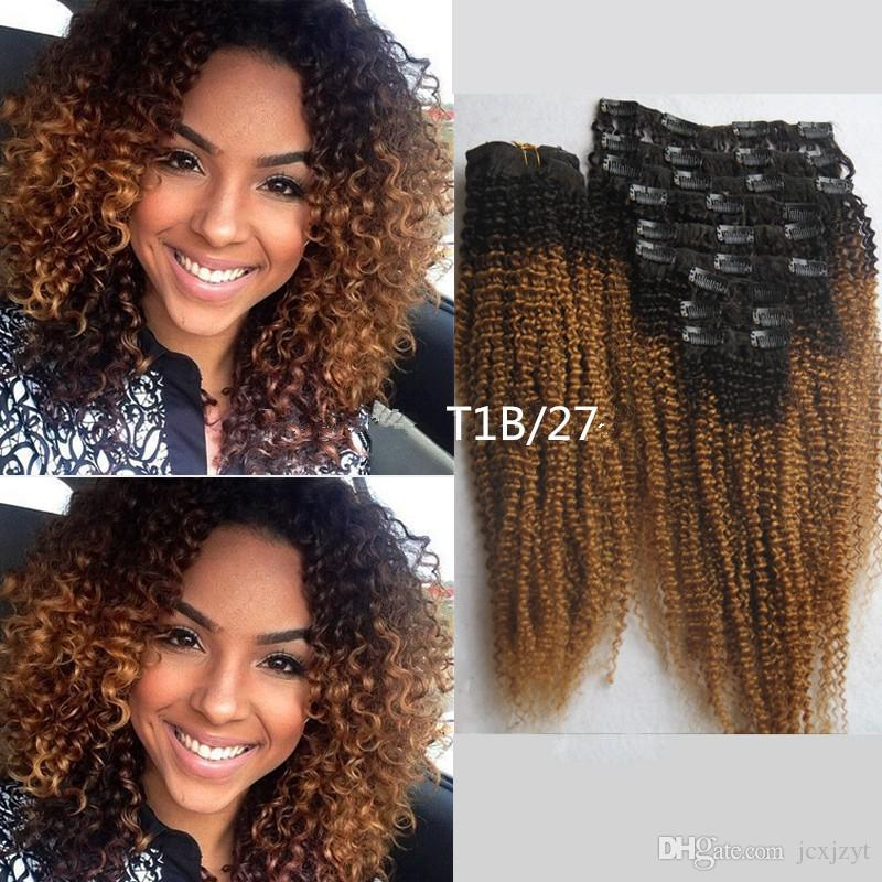 Hot T1b27 Honey Blonde Clip In Ombre Human Hai Extensions African