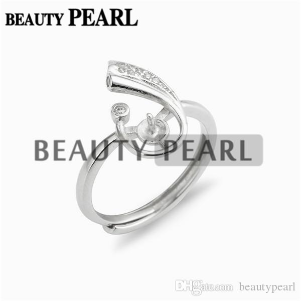 Jewellery Findings Zircon 925 Sterling Silver Ring Blanks with Pin Cup for Attaching Pearls 5 Pieces