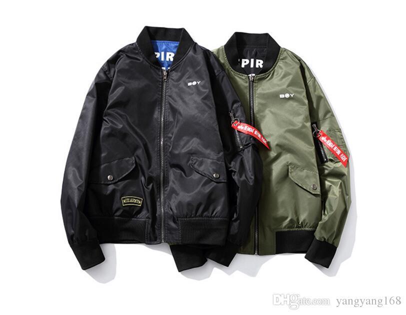 Nouveau 2017 printemps style japonais lettre de mode imprimé technologie réversible veste hommes bomber veste hommes vêtements JK34-4