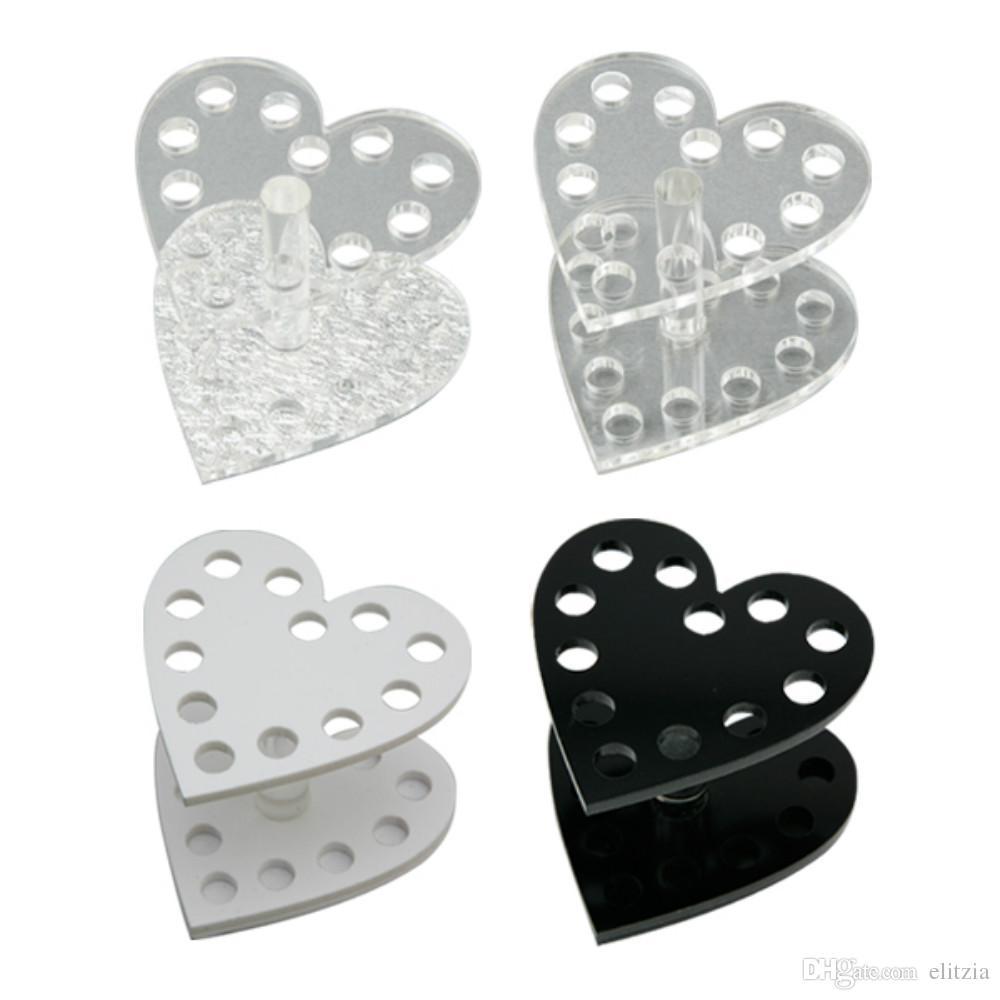 Elitzia ETMT0525 Porta pennelli per manicure Portautensili a forma di cuore Argento, trasparente, nero, colore bianco Portapenne
