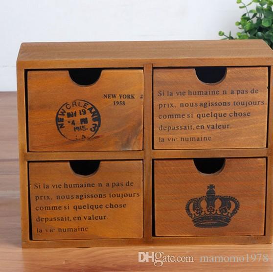 4 서랍 도매 가정용 스토리지 캐비닛 J0947 마무리 1PC Zakka 식료품 복고풍 목조 저장 상자