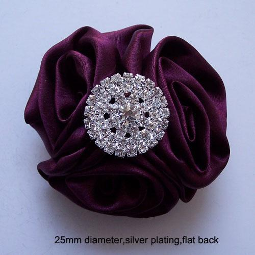 (J0235) 25mm rhinestone embellishment ,flat back,silver or light rose gold plating,silver plating
