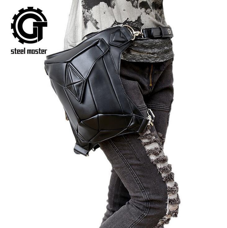 Atacado marca pacote de moda de couro dos homens saco de esportes batida de rua personalizado de couro do punk saco de punk tendência punk único ombro saco de equitação