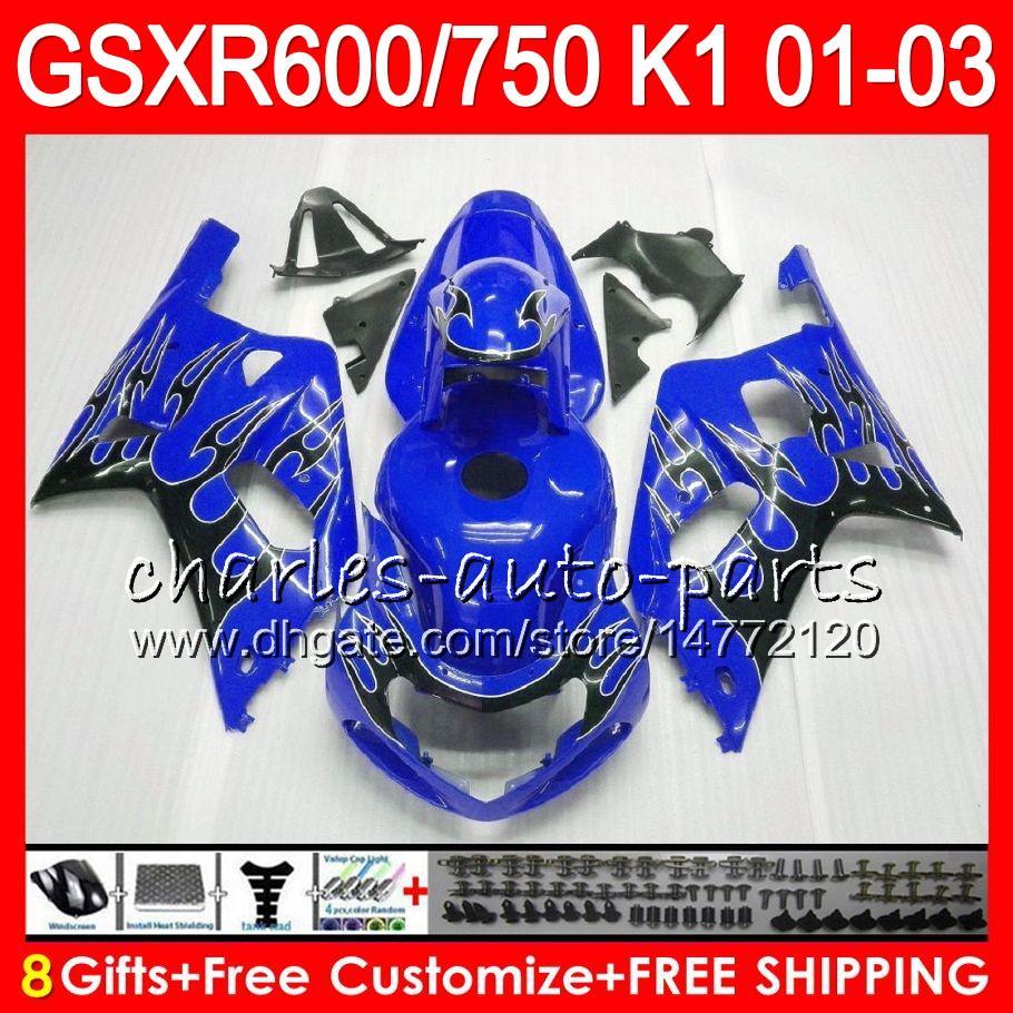 8 Gifts 23 Colors Body For SUZUKI GSX-R600 GSXR600 GSXR750 01 02 03 gloss blue 8HM52 GSX R600 R750 K1 GSXR 750 600 2001 2002 2003 Fairing