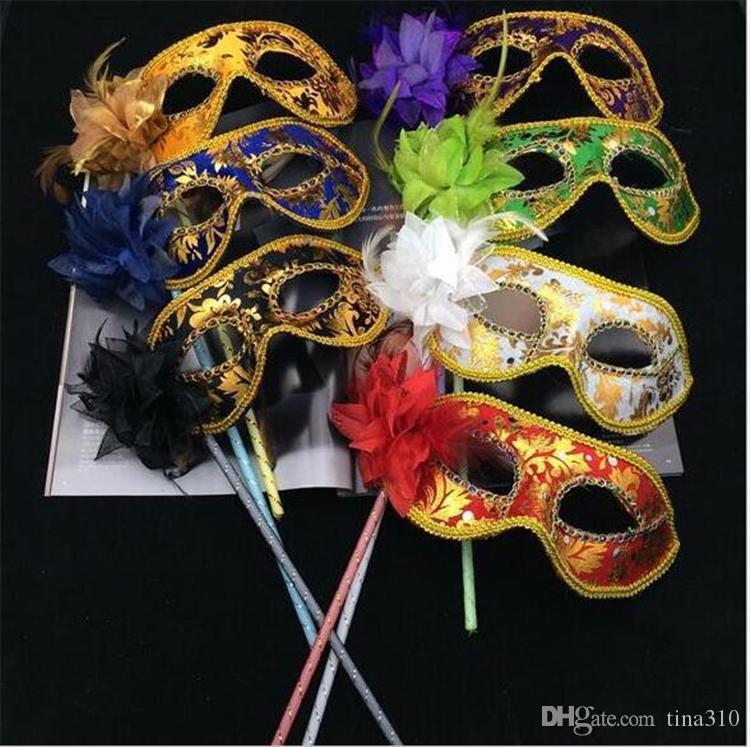 Nuovo 30pcs veneziana mezza maschera viso fiore mascherina del partito sul bastone Maschera sexy di Halloween di Natale del partito danza nozze Mask I048