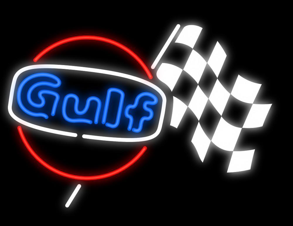 "Gulf Racing Printed Checkered Flag Auto Dealerships Mechanics Oil Lube Store Neon Sign Handmade Custom Real Glass Display Neon Signs 17""X14"""