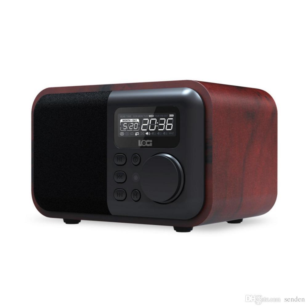 Altavoz Bluetooth de madera de lujo iBox D90 con manos libres Mic Radio FM Reloj despertador Tarjeta TF / Reproductor USB retro Caja de madera de bambú Subwoofer inalámbrico