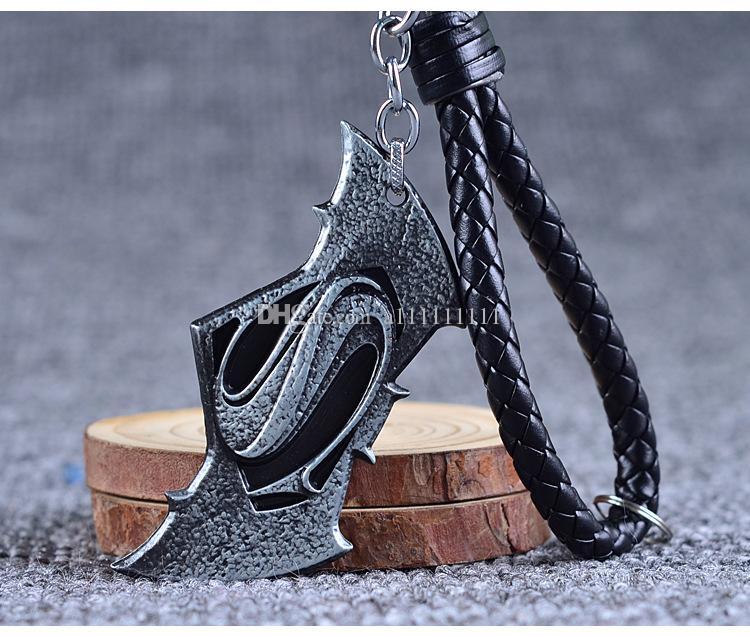 Hot Movie Batman vs Superman Key Chain Fashion Movie Jewelry Hand Knit Leather Rope Keychain Cartoon Superhero Charm Accessories