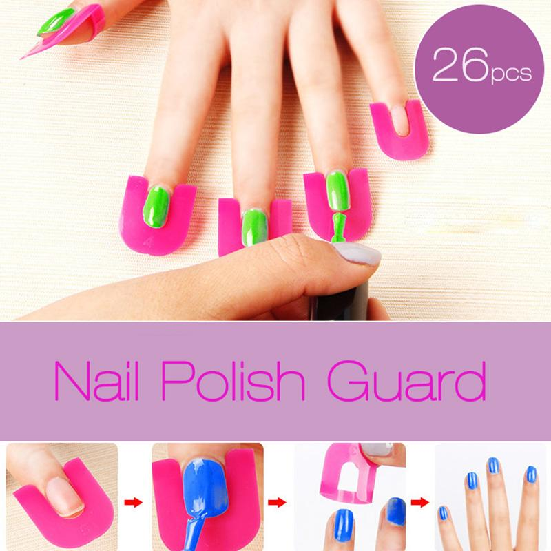 26Pc Nail Polish Shield Clip French Nail Art Manicure Stickers Tips Finger Cover Protector Plastic Case Salon Tools Set 2017 New