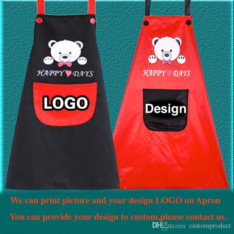 100 pz / lotto moda in bianco pvc grembiuli impermeabile grembiule personalizzato logo personalizzato pubblicità pittura bella lettering design stampato all'ingrosso
