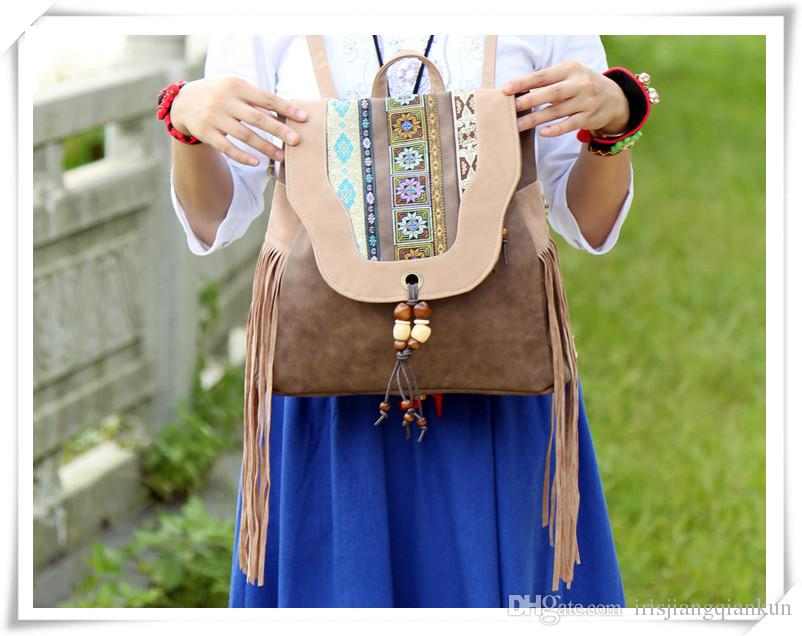 2016 New summer folk style embroidery PU ladies backpack China wind bag hanging bead manufacturers supply