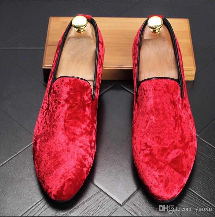 الرجال الأزياء تنفس متعطل القيادة الأحذية الأزياء المخملية متعطل الرجال المصمم شقة أحذية جلدية صغيرة أسود أحمر DHA10