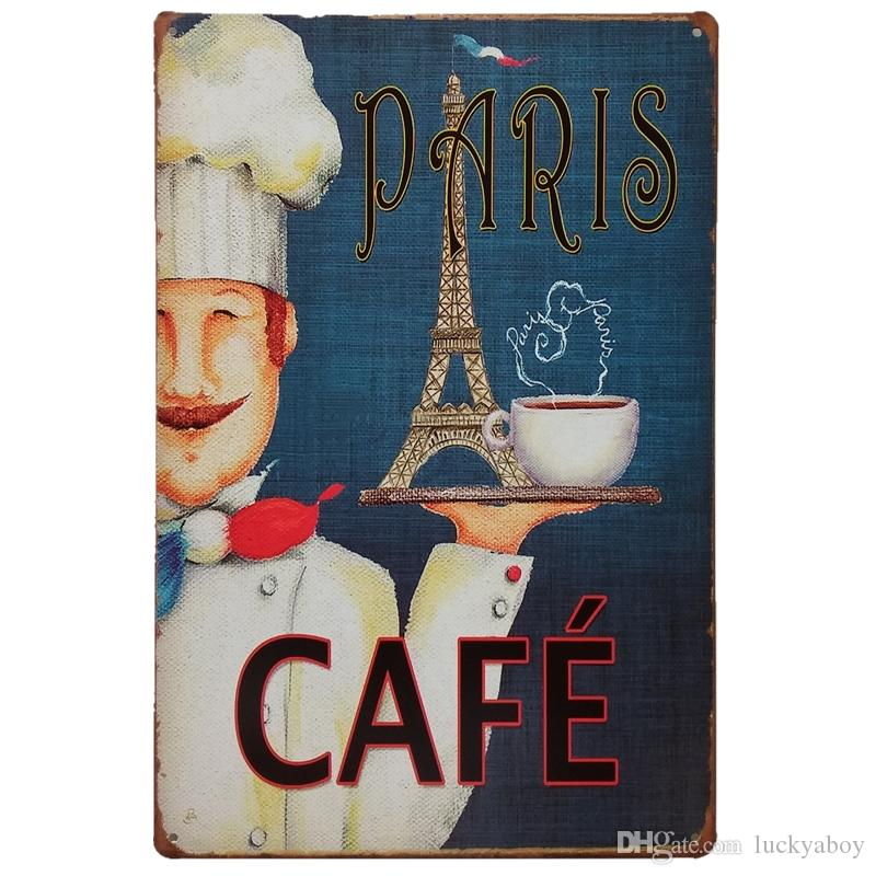 Paris Cafe Vintage sinal início Bar Pub Hotel Restaurante Coffee Shop home Decorativo Retro Metal Poster Placa de Lata